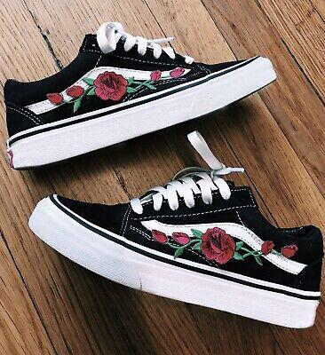 Vans Black Old Skool Red Rose Bud Embroidered Custom Shoes Sneakers Choose Size | eBay
