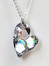 collana catenina argento 925 pendente cuore SWAROVSKI HEART 27mm.