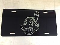 Cleveland Indians Logo Car Tag Diamond Etched On Black Aluminum License Plate
