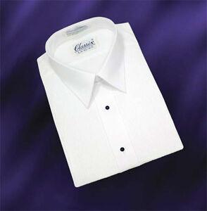 Laydown Collar Tuxedo Shirt With 1/8 Inch Pleats
