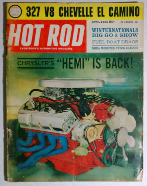 1964 APRIL HOT ROD MAGAZINE VINTAGE HEMI CHEVY FORD MOPAR GM RACING