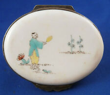 Rare 18thC Chantilly Porcelain Figural Snuff Box Chinoiserie Scenic Scene French