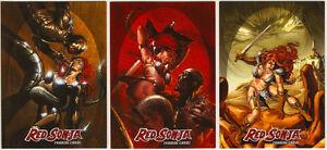 "Breygent Red Sonja Trading Cards ~ /""RED SONJA vs THULSA DOOM/"" 3-Card Insert Set"