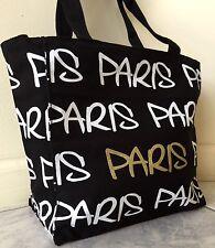"EXCLUSIVE Robin-Ruth ""PARIS"" Tote Bag, Black Canvas, White/Gold Print"