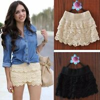 Women's Fashion Sweet Cute Crochet Tiered Lace Summer Shorts Short Pants Skirts