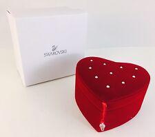 New! Swarovski Little Red Heart Velvet Jewelry Box Valentine Ring Holder