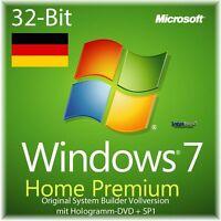 Microsoft Windows 7 Home Premium Vollversion SB 32-Bit Hologramm-DVD + SP1 NEU