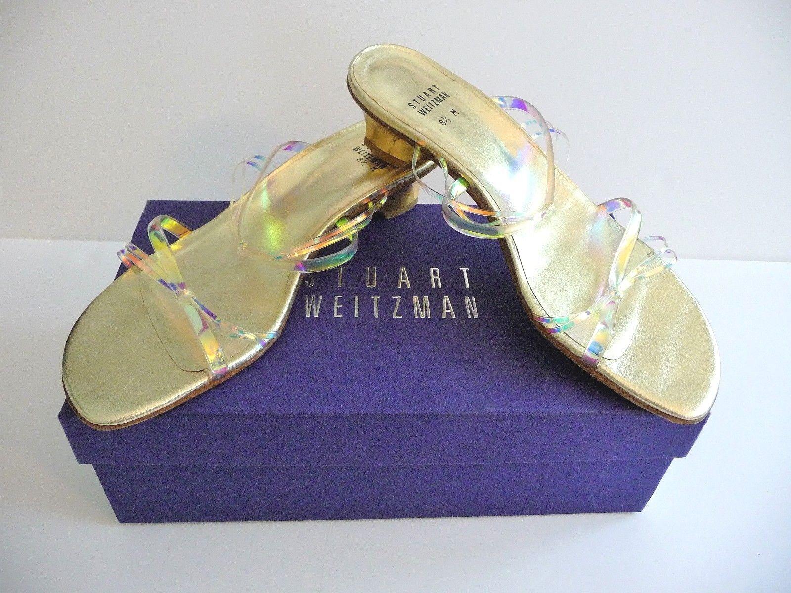 Stuart Weitzman NIB Iridescent gold Low Heel Slide Sandals Size 8.5B Retail  325
