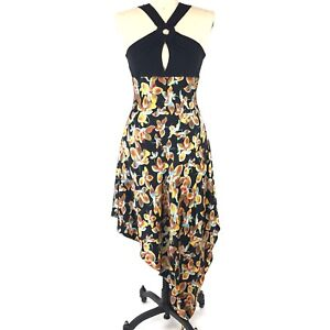 BGN-First-Black-Floral-Dress-Womens-Size-10-Silk-Asymmetrical-Handkerchief-Hem