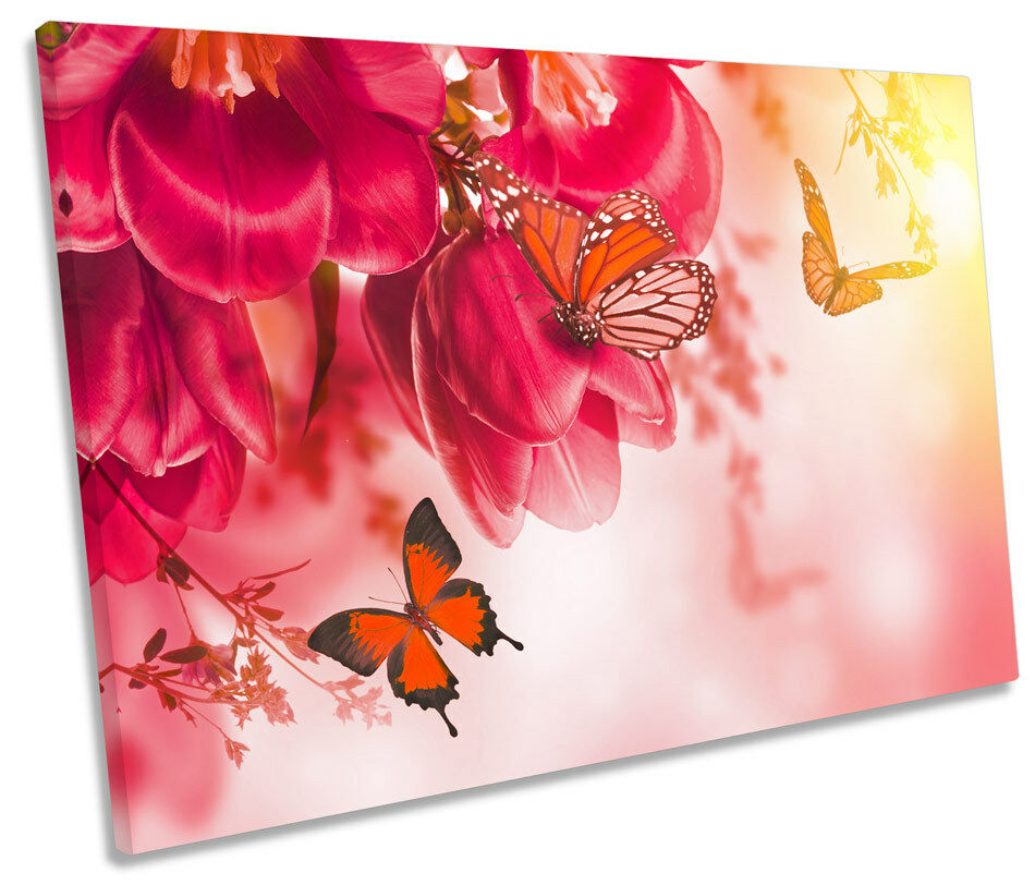 Butterfly Floral Flowers SINGLE CANVAS WALL ART Picture Print