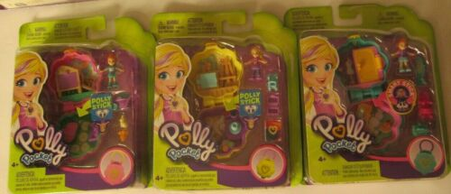 3 Mini Polly Pocket Playset Dolls Flower Shaped Lila Polly Lila VHTF