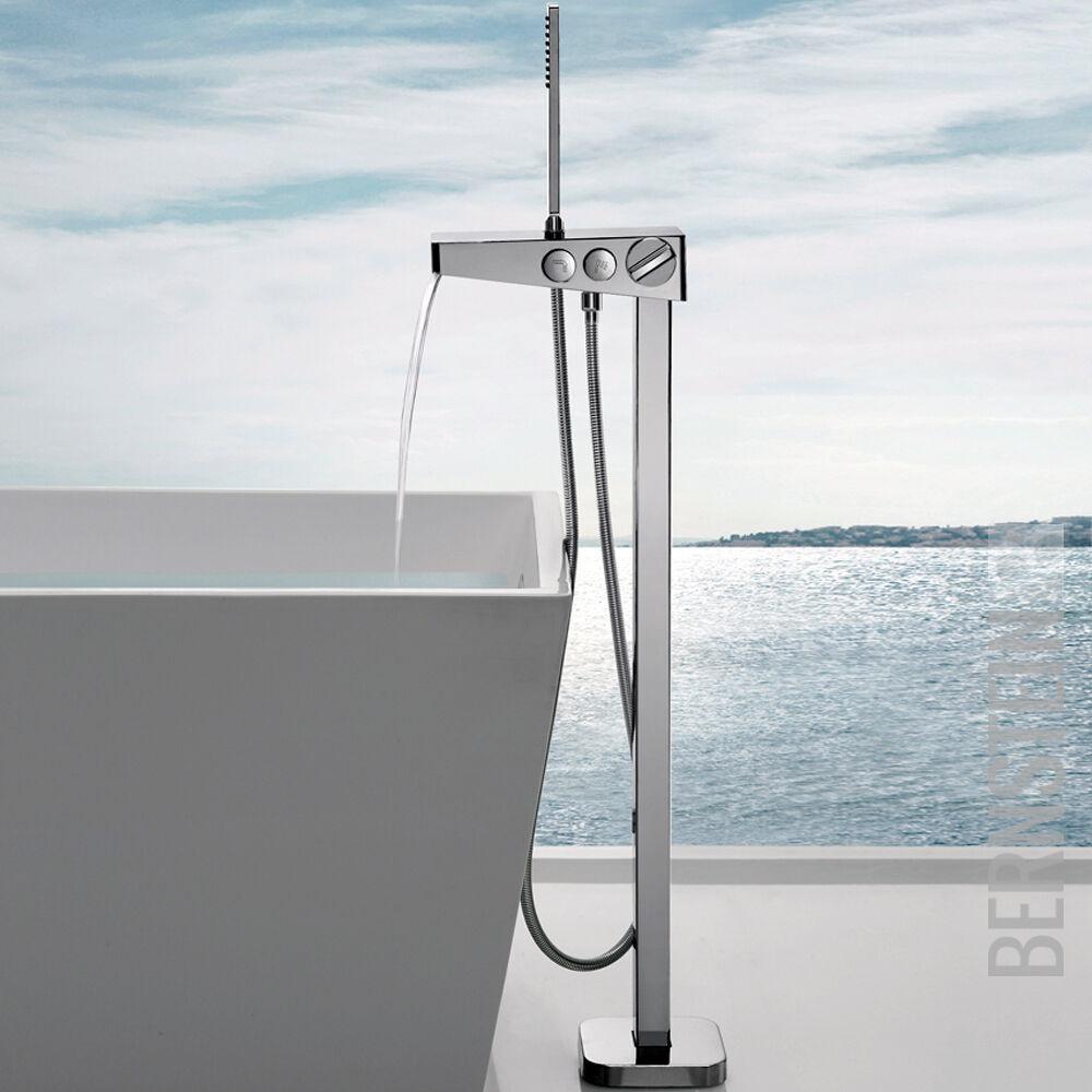 Freistehende Wannenarmatur mit Wasserfalldüse inkl. Handbrause und Duschschlauch