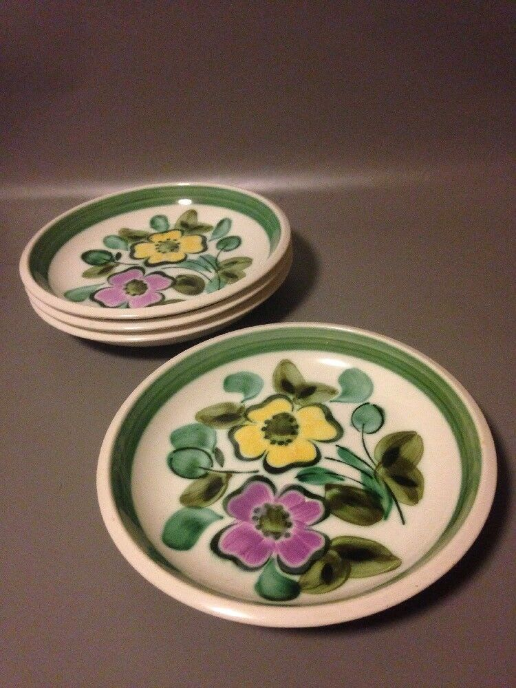 4x Boch In the mood hand Painted 8.5 Inch Deep Rimmed Plates