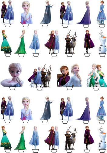 60 Frozen 2 Disney Elsa Coupe gâteau comestibles Toppers Anniversaire enfants Décorations de fête