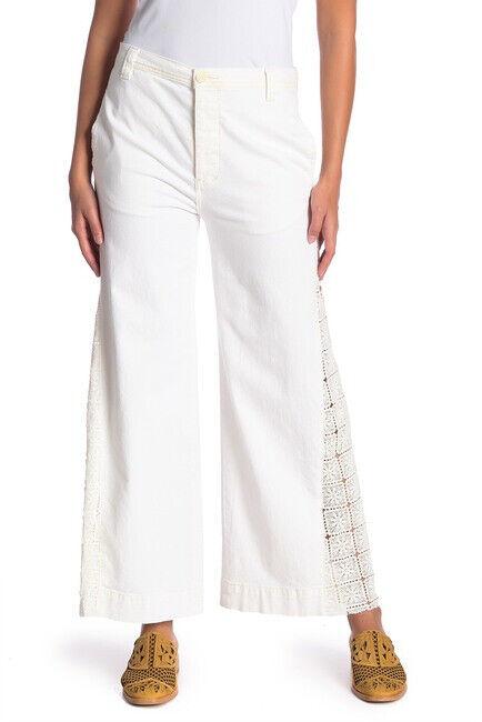 Free People Womens Lacy Wide Leg OB760957 Pants Wide Linen White Size 26W