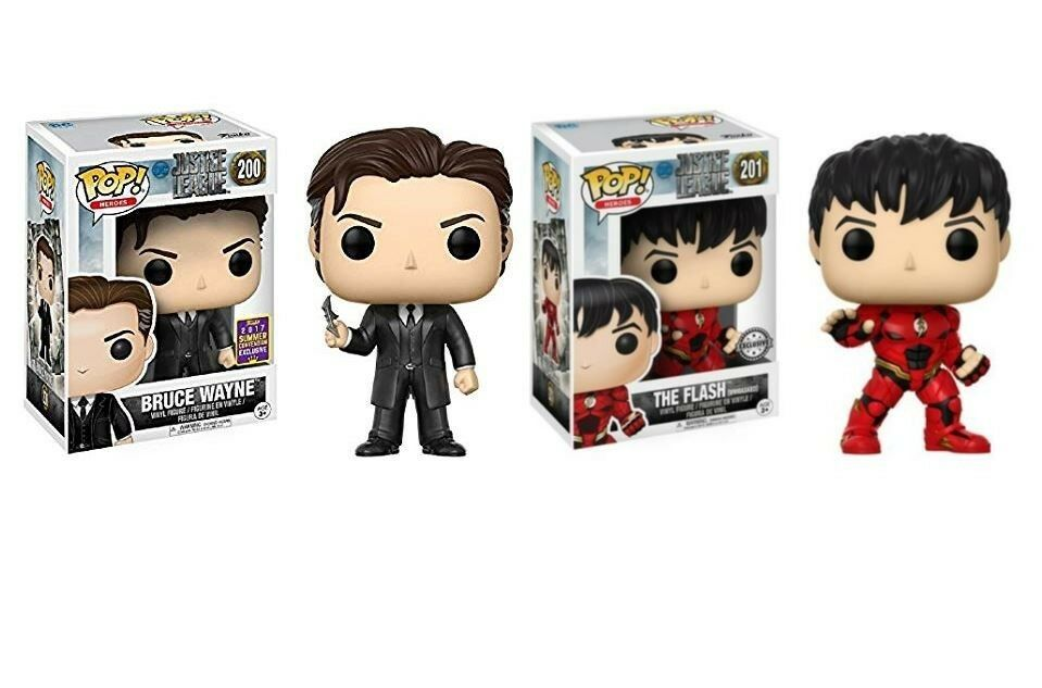 NEW Funko POP  Vinyl- DC Bruce Wayne & The Flash Unmasked (Exclusives)
