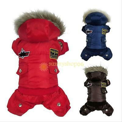 Thick Winter Warm Pet Clothes Hoodie Jumpsuit Pants for Small Dog Cat XS-XL
