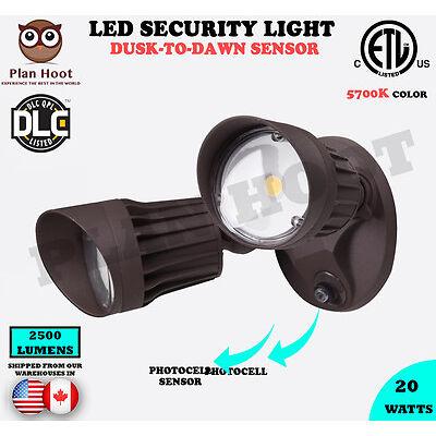 20WT Bronze 2-Headed Dusk-to-Dawn Photocell ETL DLC LED Outdoor Security Light