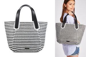 MELLOW-YELLOW-shopping-bag-VOILIER-borsa-donna-bianco-nero-rafia-pelle-BNWT