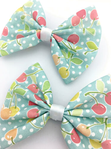 Light Blue with Cherries Print Medium Fabric Hair Bow Vintage Inspired Pin Up