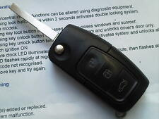 Ford Focus ST, GALAXY, S Max Mondeo Etc 3 botón remoto alarma sin cortar Voltear Llavero