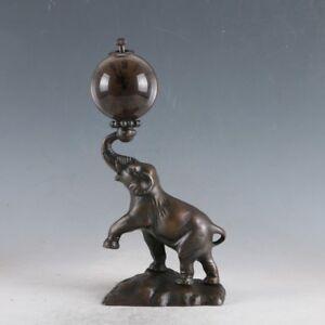 Antiques-European-Exquisite-Brass-Classical-Mechanical-Elephant-Clock