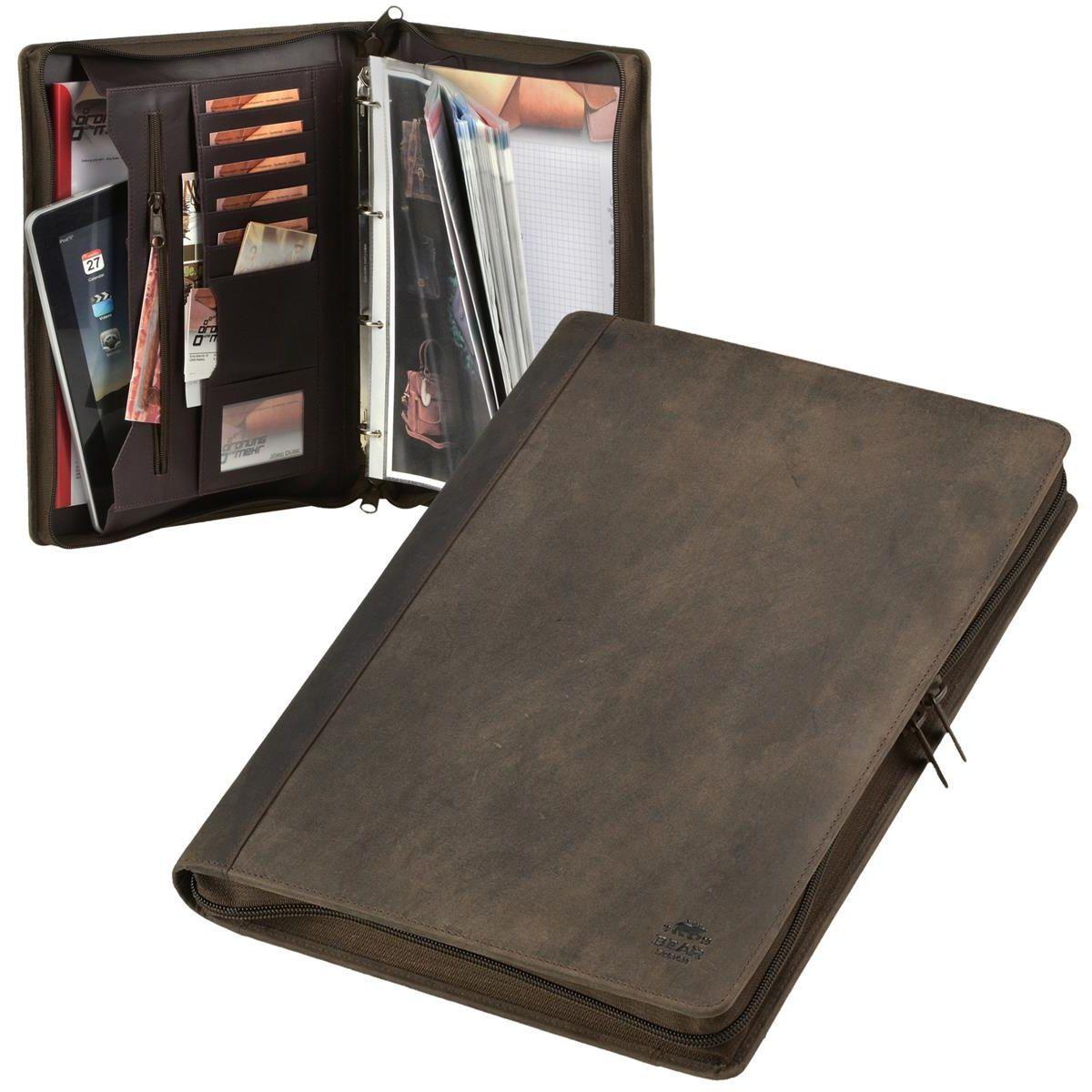 Schreibmappe A4 Leder braun Ringbuchmappe Konferenzmappe + Prospekthüllen | Verwendet in der Haltbarkeit  | Elegantes Aussehen  | Berühmter Laden