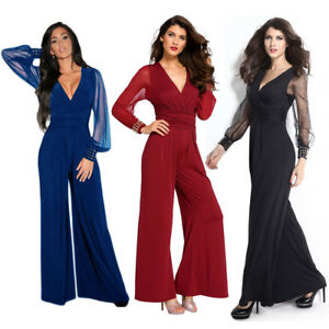 Women-Fashion-Cuffs-Long-Mesh-Sleeves-Jumpsuit-V-Neck-Formal-Dress-Clubwear