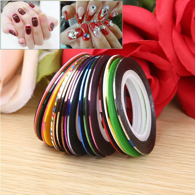 30pcs 20m mixed rolls striping tape line diy nail art tips decoration sticker GV