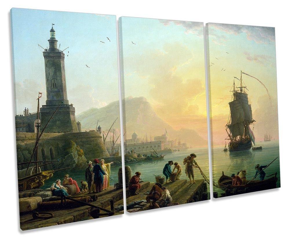 Claude-Joseph Vernet Mediterranean Port Picture TREBLE CANVAS WALL ART Print
