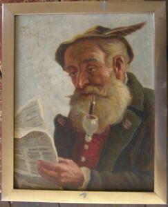 OLGEMALDE-MANN-MIT-PFEIFE-LIEST-ZEITUNG-WOHL-MUNCHEN-UM-1920-STUBNER-SIGNIERT
