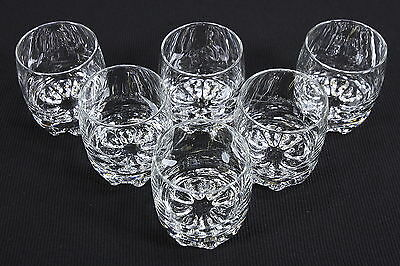 Six (6) Clear Glass Footed Rocks Tumblers Made In Italy Bormioli Rocco