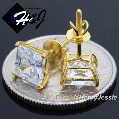 925 STERLING SILVER 7MM SQUARE CLEAR CUT CZ GOLD SCREW BACK STUD EARRING*E93