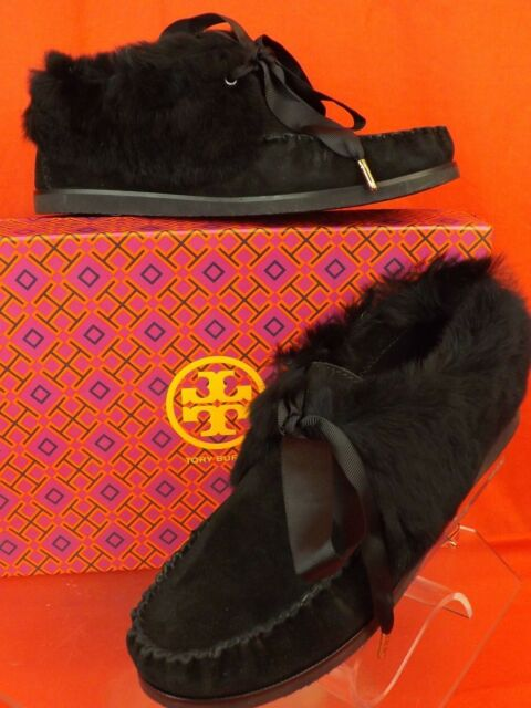 f51f29ee7646 NIB TORY BURCH ABERDEEN BLACK SPLIT SUEDE RABBIT FUR SLIPPER BOOTIES ...