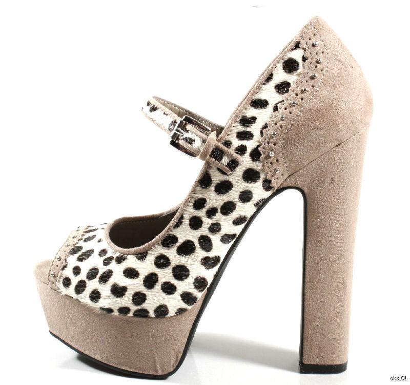 New BEBE 'Pennie' grey suede pony hair open-toe PLATFORMS PLATFORMS PLATFORMS heels shoes 6.5 HOT 713540