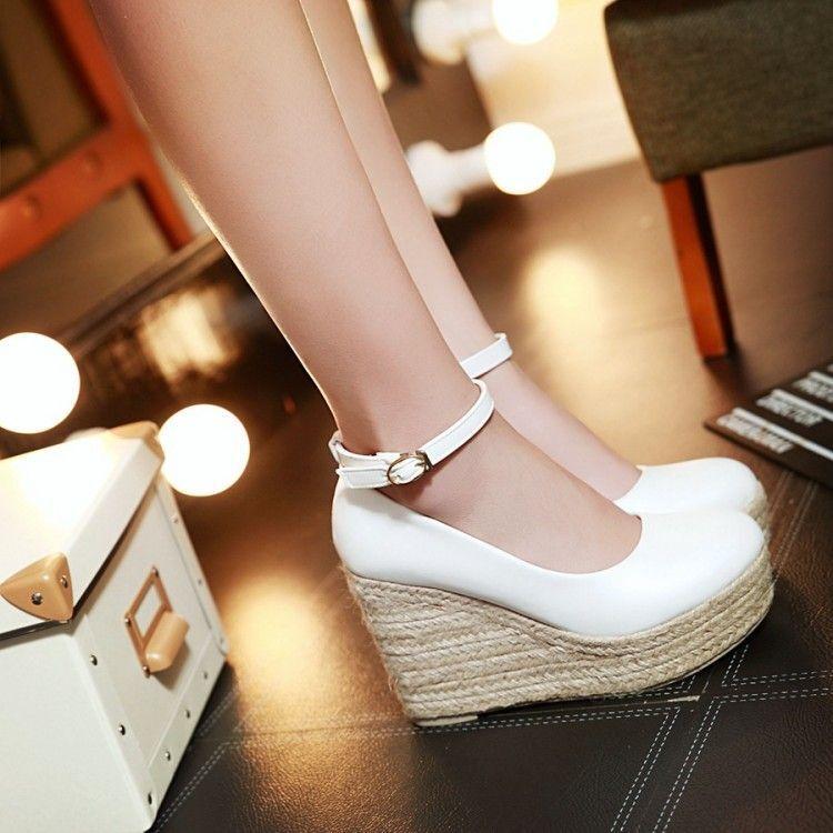 Sandales femmes blanc fermé corde compensé plateau 13 cm élégant et confortable