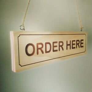 Details About Order Here Pay Here Shop Business Sign Open Closed Wooden Sign Plaque Custom