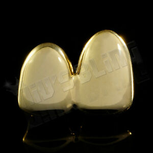 14K Gold Plated DOUBLE Top Two Tooth Cap CUSTOM GRILLZ Canine Teeth Hip Hop