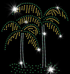 Palm Trees Sparkly Rhinestud Rhinestone T-Shirt PLUS SIZE -or- SUPERSIZE T17166F