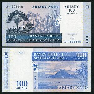 Madagascar-100-ariary-2004-Ravianala-amp-Tsingy-P86b-Signature-6-UNC