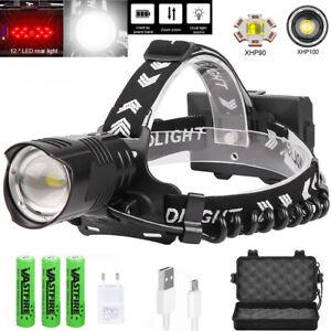 XHP100 LED Headlight Power LED Headlamp USB Rechargeable Zoom Head Torch Fishing