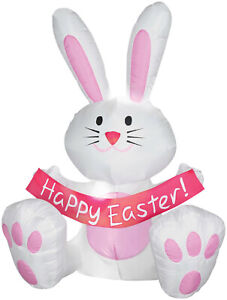 EASTER BUNNY WITH BANNER 4 FT AIRBLOWN INFLATABLE YARD DECORATION  GEMMY