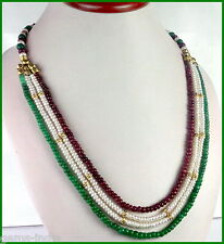 4 ROWS 305 CT EMERALD RUBY AND PEARL NECKLACE WITH 8 ALLOYS GOLD PLATED BEADS