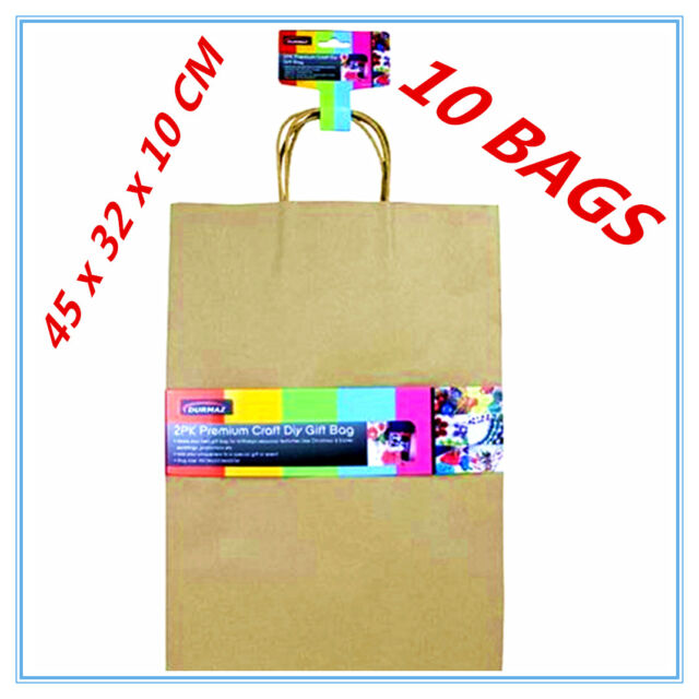 10 X EXTRA LARGE CRAFT DIY BROWN PAPER GIFT BAGS WITH HANDLE PARTY GIFT WRAP AP