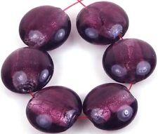 Lampwork Handmade Glass Silver Foil Purple Amethyst Lentil Beads  20m