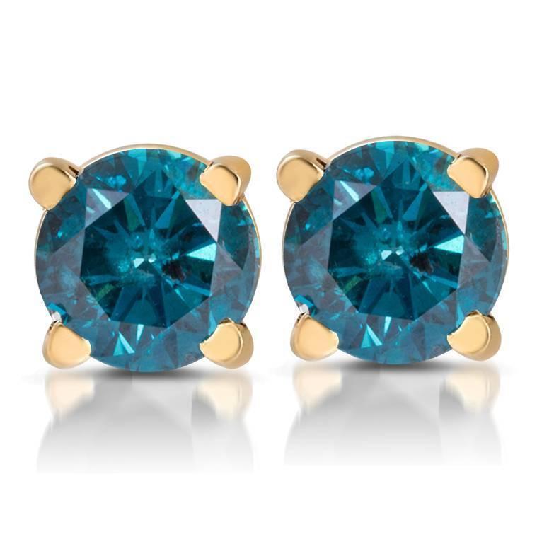 1 3ct Treated bluee Diamond Studs 14 Karat Yellow gold