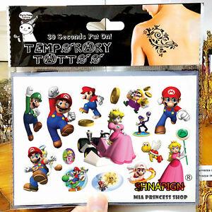95731f67e Super Mario Bros. Luigi Temporary Tattoo Sheets Kids Birthday Party ...