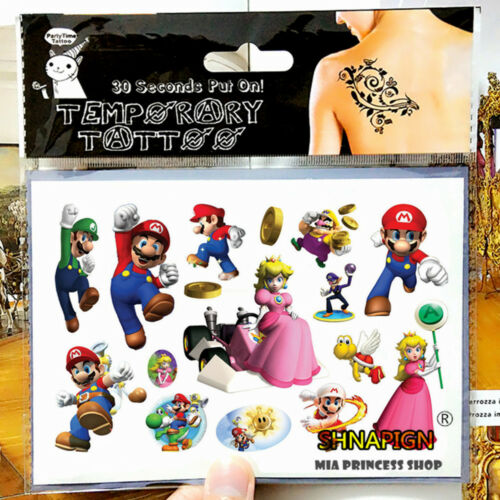 Luigi Temporary Tattoo Sheets Kids Birthday Party Bag Filler Super Mario Bros