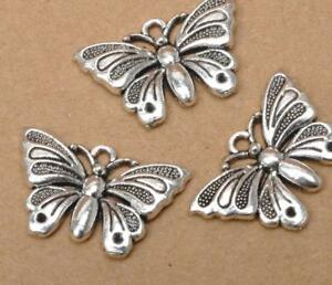10pcs-Tibetan-Silver-Charm-butterfly-Pendant-Jewelry-Findings-22x13mm-FA3399