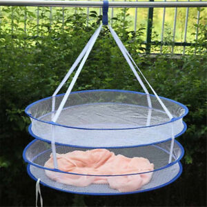 Foldable-2Layers-Drying-Rack-Net-Hanging-Clothes-Laundry-Sweater-Dryer-BaskeYNFK